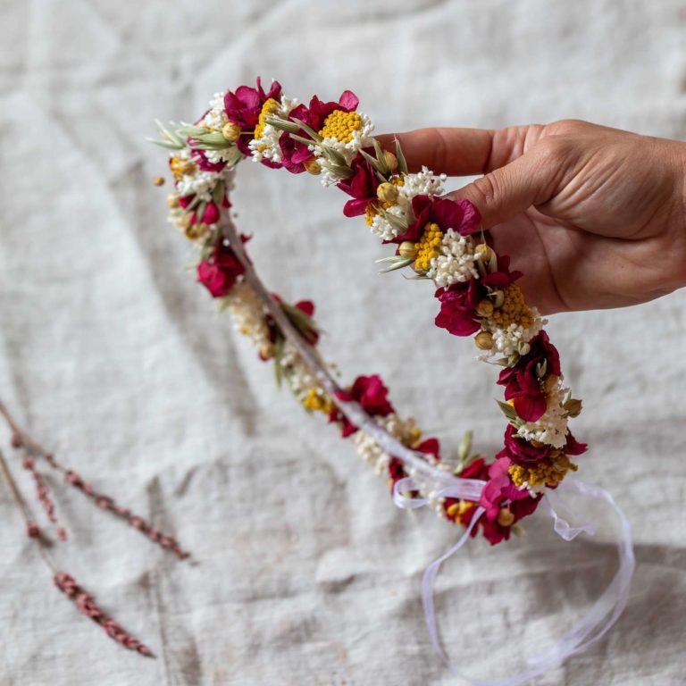 couronnes fleurs séchées